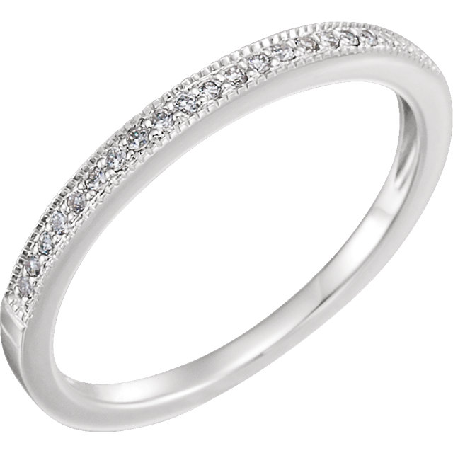 14K White 1/10 CTW Diamond Band