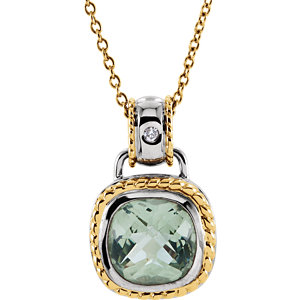 Checkerboard Green Quartz & Diamond Necklace