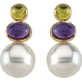 South Sea Cultured Circlé Pearl, Genuine Peridot & Genuine Amethyst Earrings