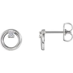 14K White .06 CTW Diamond Circle Earrings