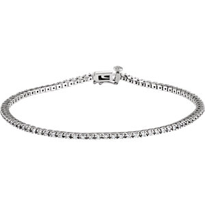 "14K White 1 CTW Diamond Line 7.25"" Bracelet"
