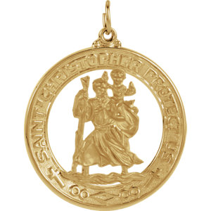 14kt Yellow 29mm St. Christopher Medal