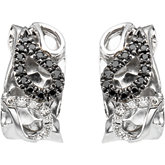 1/3 ct tw Black & White Diamond Paisley Design Earrings