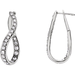 14K White 1 CTW Diamond Wavy Hoop Earrings