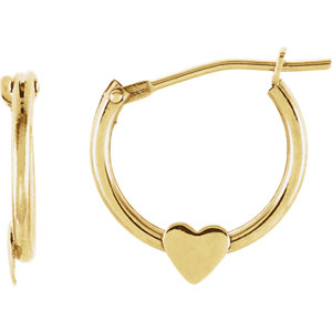14K Yellow Hoop Earrings with Heart