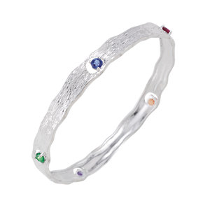 Multi-gemstone Bangle Bracelet