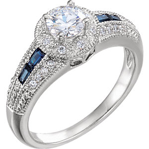 14kt White Blue Sapphire & A/4 ATW Diamond Engagement Ring