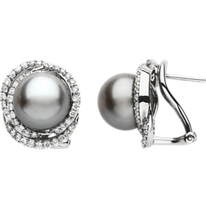 14kt White 9mm Tahitian<br> Aultured Pearl & 5/  ATW<br> Diamond Earrings