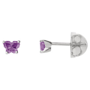 Sterling Silver February Bfly® AZ Birthstone Youth Earrings with Safety Backs & Box