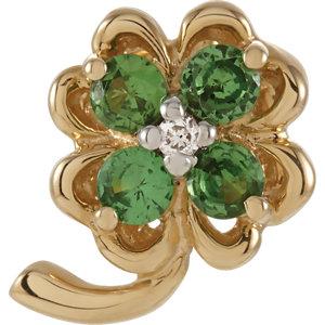 Genuine Tsavorite Garnet and Diamond Clover Pendant