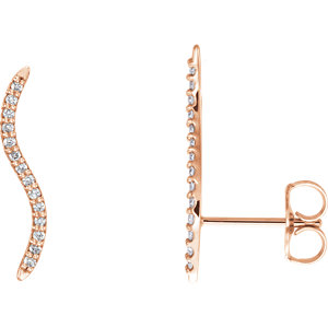 14kt Rose 1/6 ATW Diamond Ear Alimbers with Backs