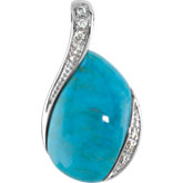 Genuine Chinese Turquoise & Diamond Pendant