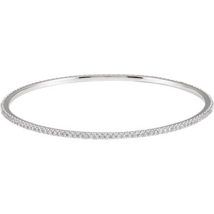 14K White 2 CTW Diamond Stackable Bangle Bracelet