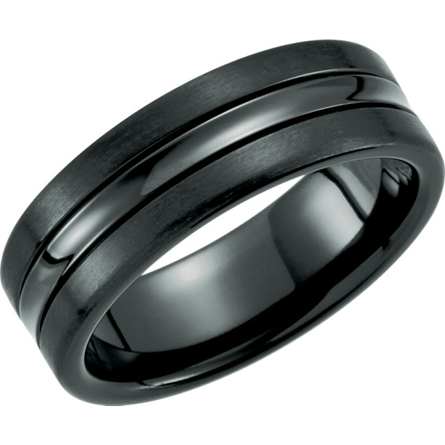 Black Titanium 7.5mm Grooved Band Size 12