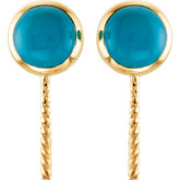Genuine Turquoise Semi-mount Earrings