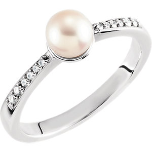 14kt White  mm Pearl & . <br>  ATW Diamond Ring