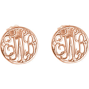 10mm 3 Letter Script Monogram Earrings Ref 86010