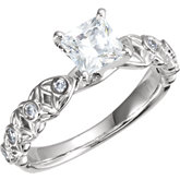 Diamond Sculptural Design Engagement Ring, Semi-mount or Eternity Band