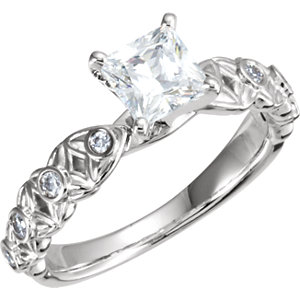 Diamond Sculptural Engagement Ring, Semi-Mount or Eternity Band