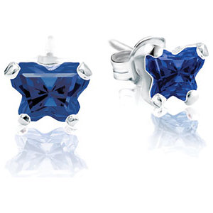 Sterling Silver September<br> Bfly® AZ Birthstone<br> Youth Earrings with<br> Friction Backs and Box