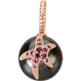 Tahitian Cultured Pearl Pendant with Pink Sapphire Starfish