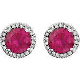 Gemstone & Diamond Halo-Styled Birthstone Friction Post Stud Earring