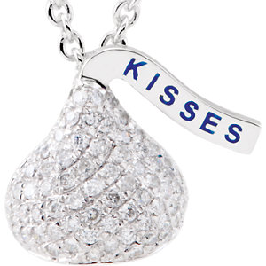 14kt White HERSHEYS<br> KISSES Flat Back 1/A ATW<br> Diamond 1
