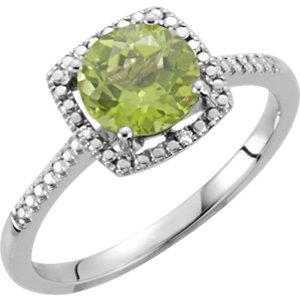 Sterling Silver Peridot &<br> . 1 ATW Diamond Ring