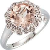 Morganite & Diamond Accented Ring