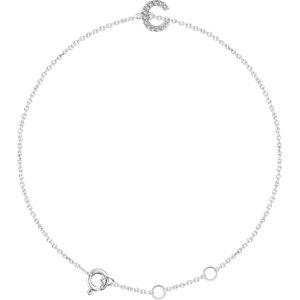 "14K White .04 CTW Diamond Initial ""C"" 6-7"" Bracelet"