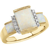 Genuine Opal & Diamond Ring