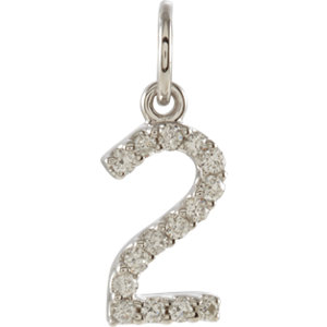 Diamond Numeric Charm or Pendant