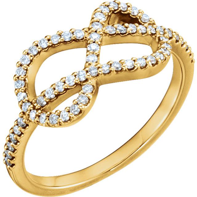 14kt Yellow 1/3 CTW Diamond Knot Ring