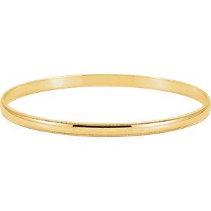 14kt Yellow 4mm Milgrain<br> Edge Bangle Bracelet