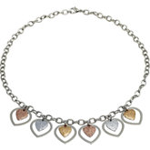 Amalfi™ Stainless Steel Glitter Heart Necklace with Immersion Plate