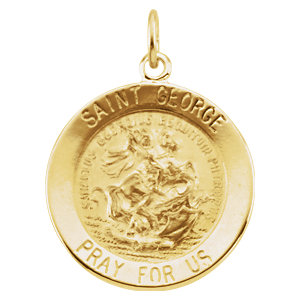 14K Yellow 18mm Round St. George Medal