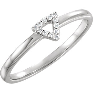 14K White .05 CTW Diamond Triangle Stackable Ring