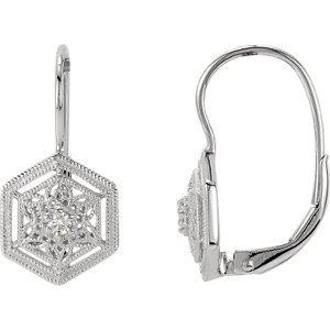 14kt White 1/1  ATW<br> Diamond Filigree Lever<br> Back Earrings