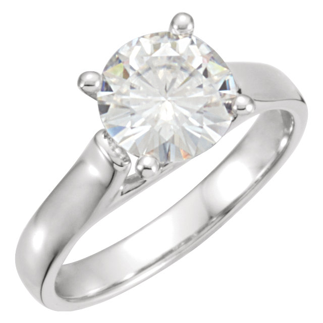 14K White 8mm Round Forever Classic™ Moissanite Solitaire Engagement Ring