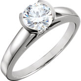 Round Half Bezel Solitaire Engagement Ring Mounting
