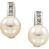 Freshwater Cultured Pearl & Diamond Earrings