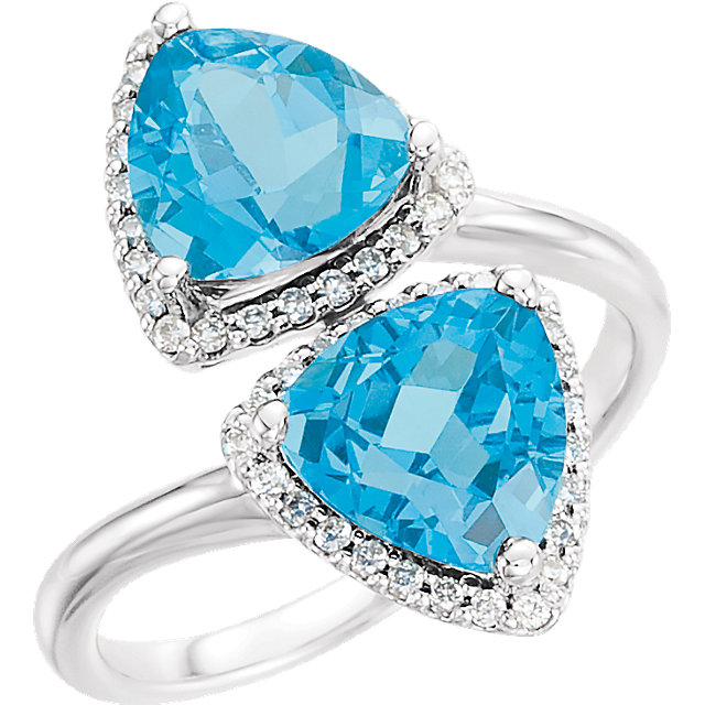 14kt White Swiss Blue Topaz & 1/5 CTW Diamond Ring