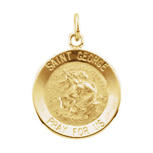 14K Yellow 15mm Round St. George Medal