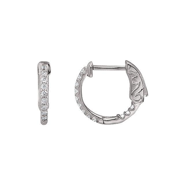 14K White 1/4 CTW Diamond Inside/Outside Hoop Earrings
