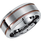 Stainless Steel Grooved Band with Chocolate Immerse Plating
