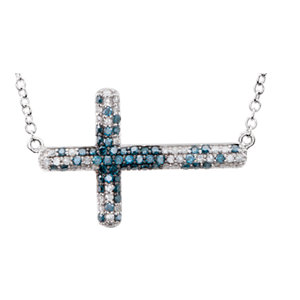 Diamond Sideways Cross Bracelet or Necklace