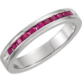Gemstone or Diamond 11 Stone Anniversary Band