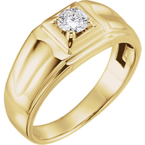 14K Yellow 3/8 CTW Diamond Men's Ring