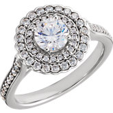 Diamond Double Halo Semi Mount Engagement Ring or Mountiing