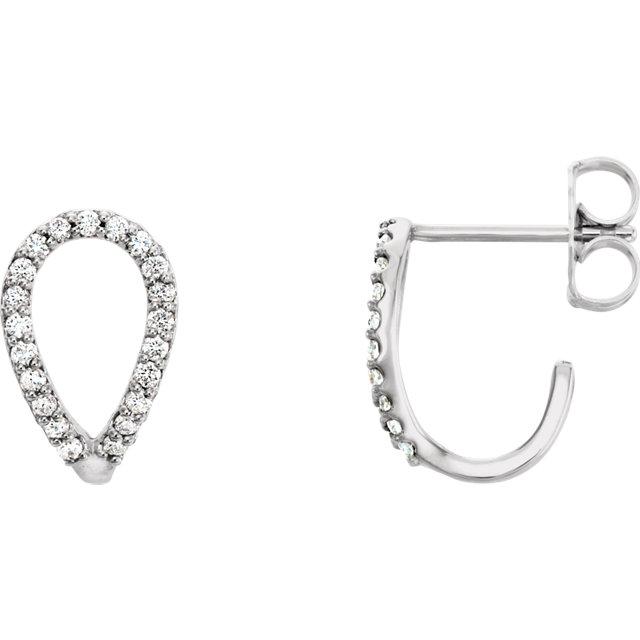 3cca00766d61f 14K White 1/5 CTW Diamond Geometric J-Hoop Earrings - 86477-605-P